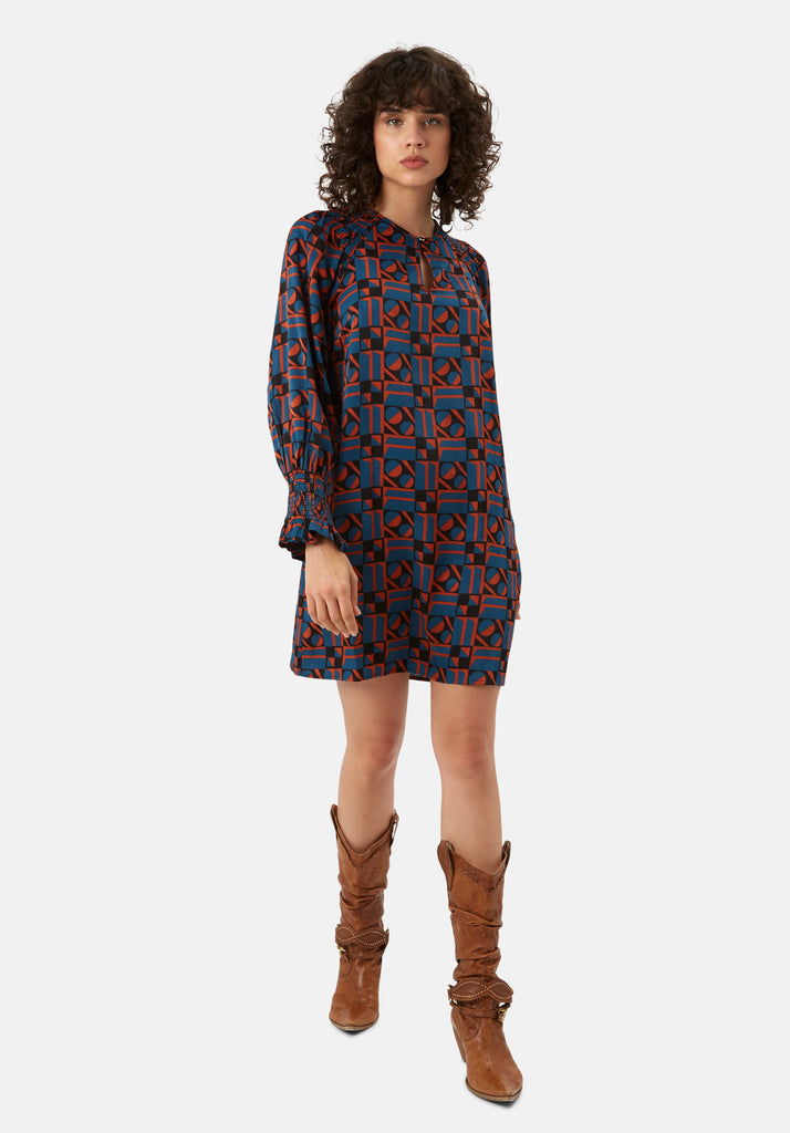 Traffic People Mollie Shift Mini Dress in Blue and Rust Red Back View Image