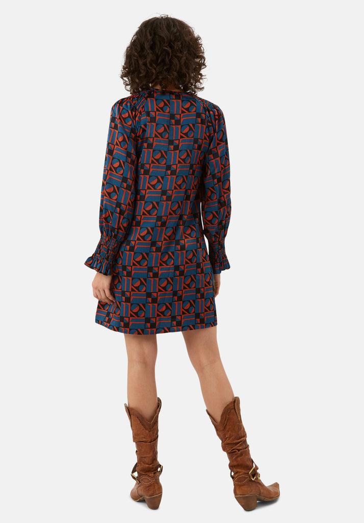 Traffic People Mollie Shift Mini Dress in Blue and Rust Red Side View Image