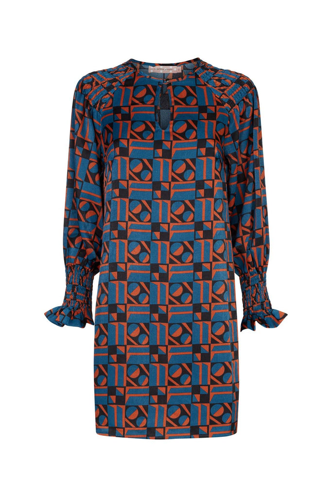Traffic People Mollie Shift Mini Dress in Blue and Rust Red FlatShot Image