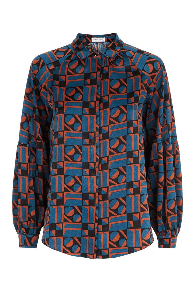 Traffic People Silence Satin Long Sleeve Shirt in Blue and Rust FlatShot Image