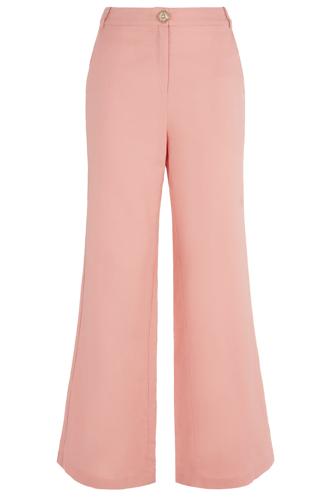 Traffic People Button Up Flared Trousers in Salmon Pink Front View Image
