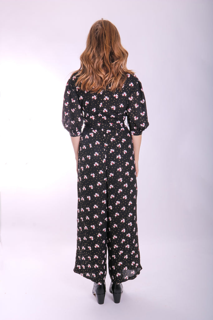 Traffic People Floral Wide Leg Hetty Jumpsuit Back View Image