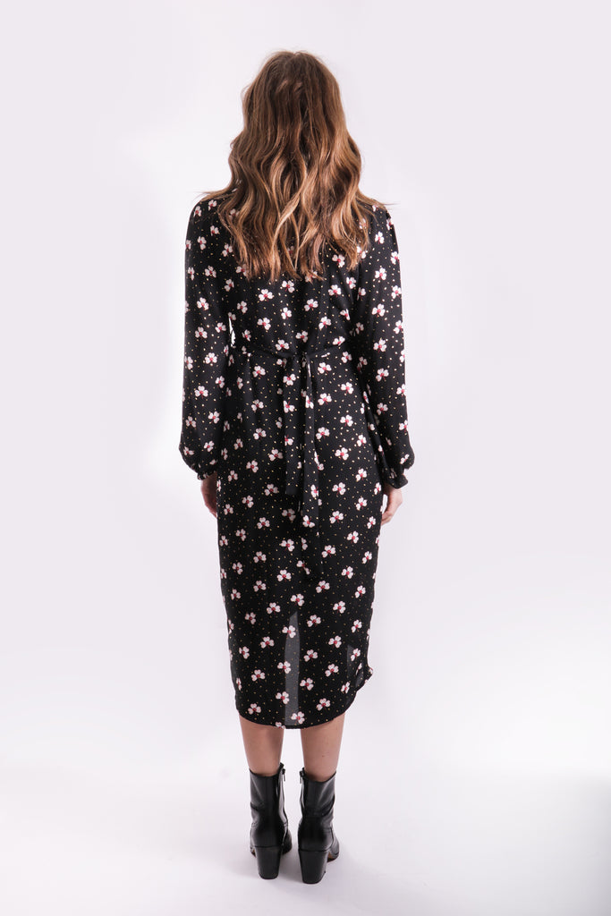 Traffic People Printed Shrimp Long Sleeve Wrap Dress Back View Image