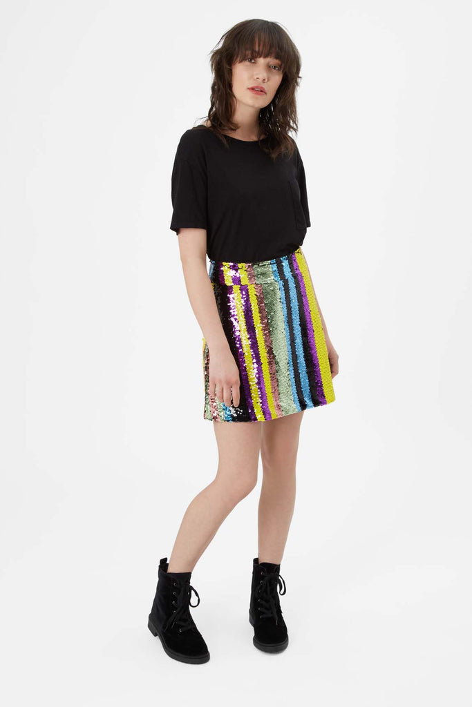 Traffic People Sequin Mini Skirt in Multicoloured Front View Image