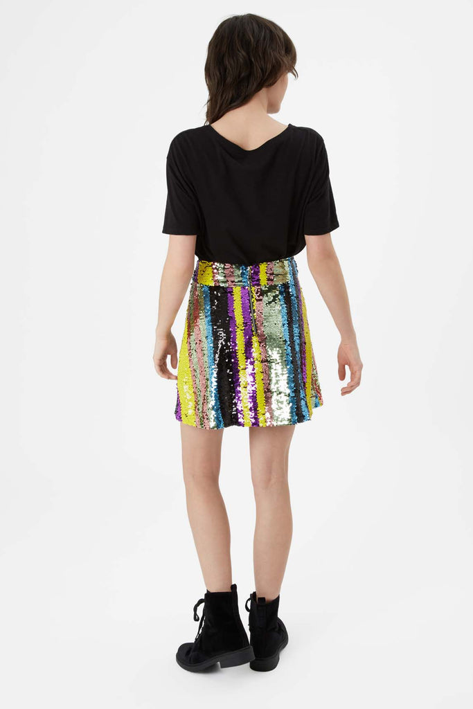 Traffic People Sequin Mini Skirt in Multicoloured Side View Image