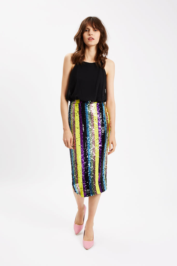 Traffic People Rainbow Ricochet Sequin Pencil Dress in Black Front View Image
