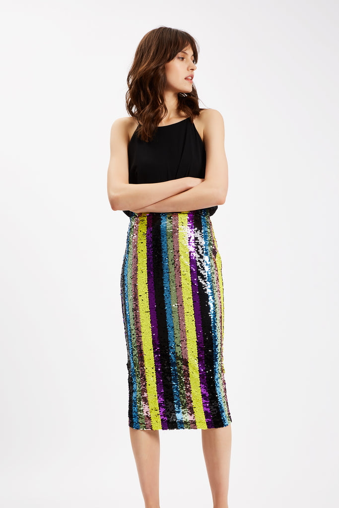 Traffic People Rainbow Ricochet Sequin Pencil Dress in Black Side View Image