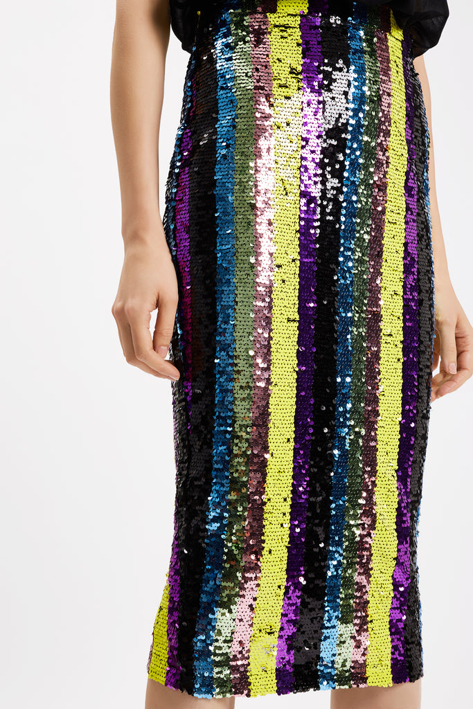 Traffic People Rainbow Ricochet Sequin Pencil Dress in Black Close Up Image