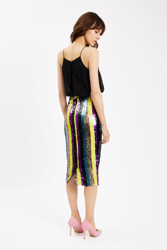 Traffic People Rainbow Ricochet Sequin Pencil Dress in Black Back View Image
