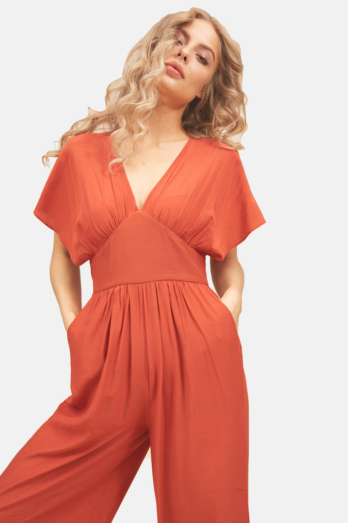 Traffic People Genie Wide Leg Jumpsuit in Red Side View Image