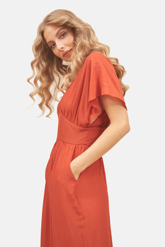 Traffic People Genie Wide Leg Jumpsuit in Red Back View Image