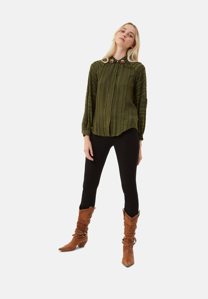 Traffic People Silence and Awe Textured Long Sleeve Shirt in Green Side View Image