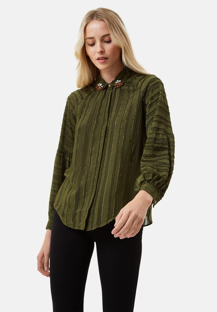 Traffic People Silence and Awe Textured Long Sleeve Shirt in Green Front View Image