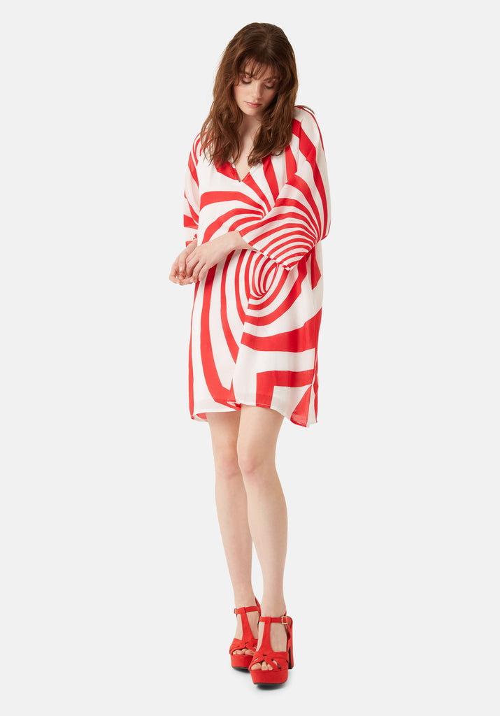 Traffic People Graphic Print Moments Mini Dress in Red Front View Image