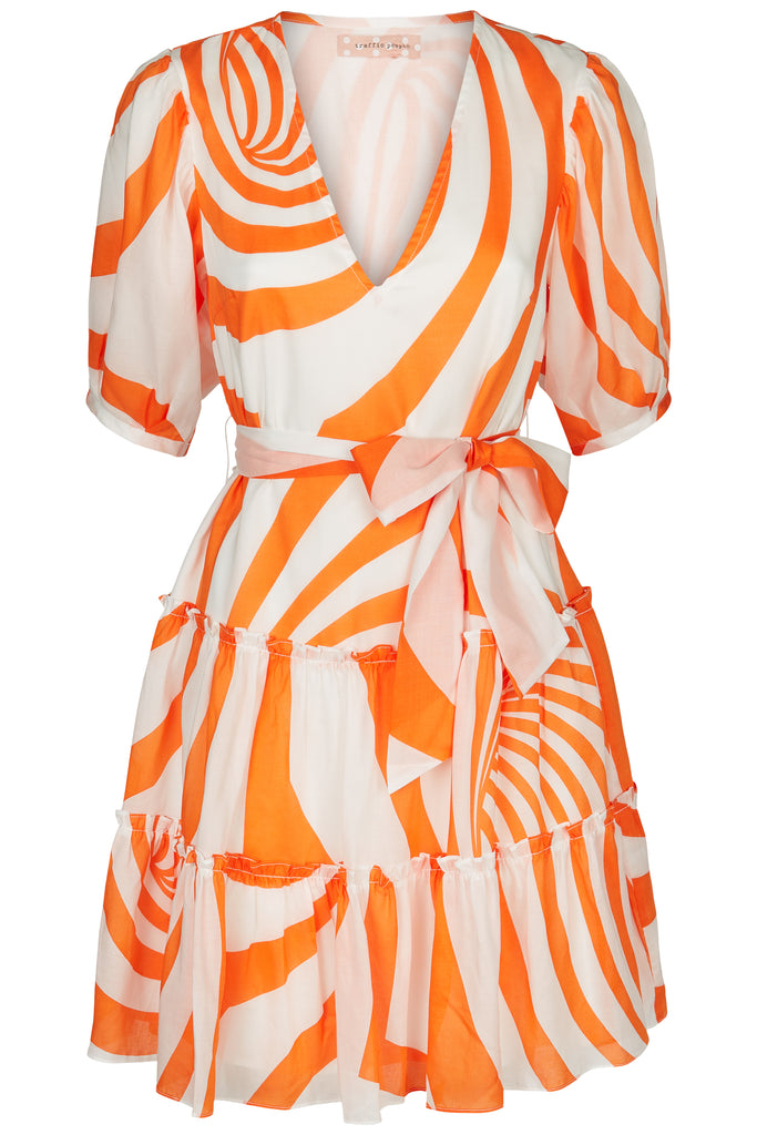 Traffic People Felicitous Swirl Print Mini Dress in White and Orange Front View Image