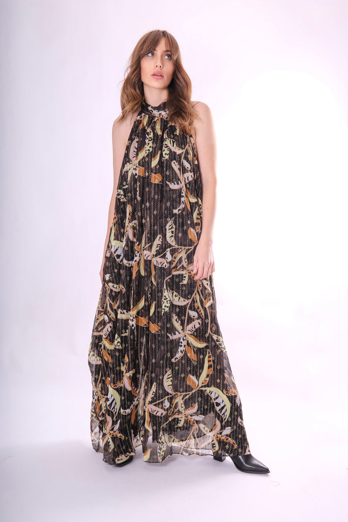 Traffic People Twiggy Metallic Wide Leg Floral Jumpsuit Back View Image