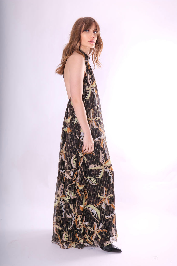 Traffic People Twiggy Metallic Wide Leg Floral Jumpsuit Front View Image