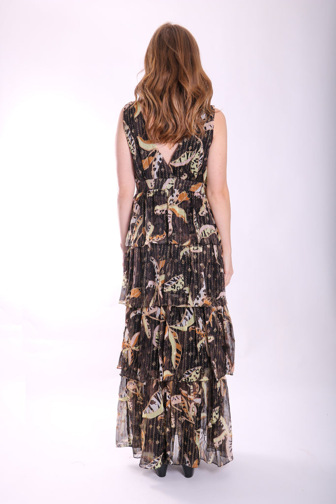 Traffic People Maxi Mia Dress in Black Floral Back View Image