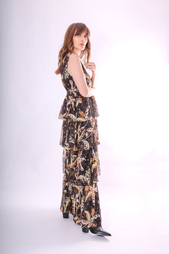 Traffic People Maxi Mia Dress in Black Floral Side View Image