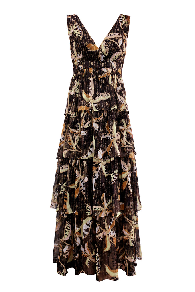 Traffic People Maxi Mia Dress in Black Floral FlatShot Image