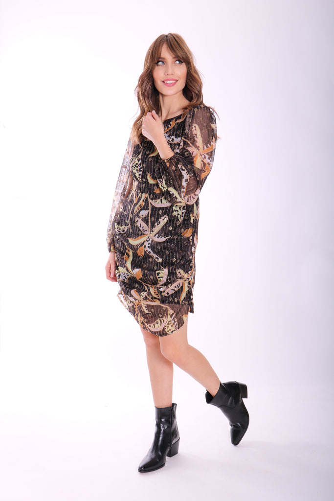 Traffic People Draper Long Sleeve Mini Dress in Black Floral Print Side View Image