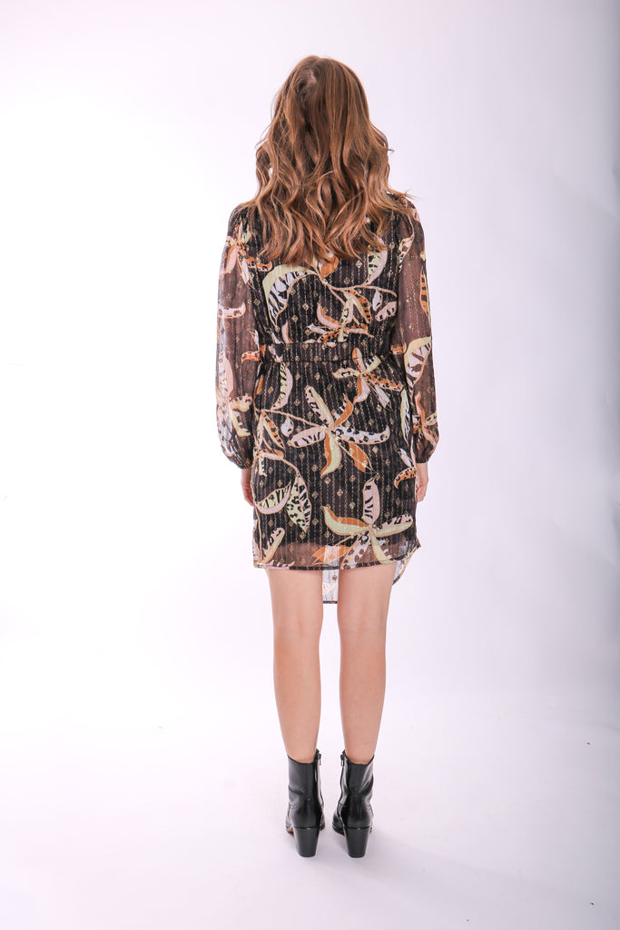 Traffic People Draper Long Sleeve Mini Dress in Black Floral Print Back View Image