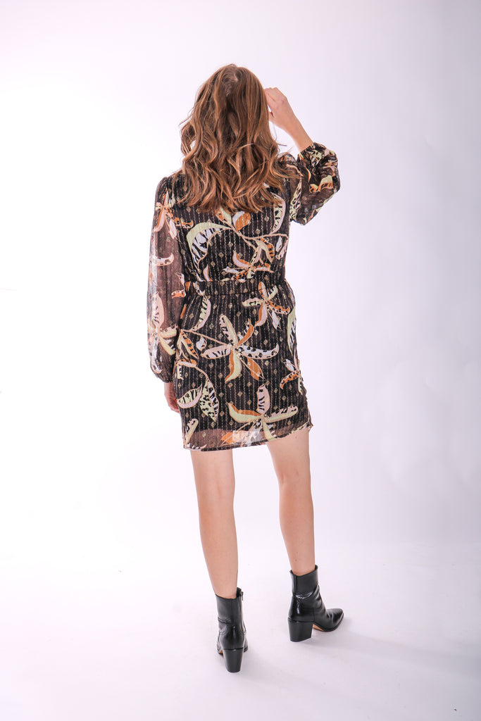 Draper Long Sleeve Mini Dress in Black Floral Print