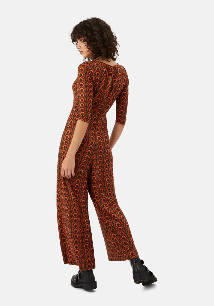 Traffic People Jagger Printed Long Sleeve Jumpsuit in Orange and Green Back View Image