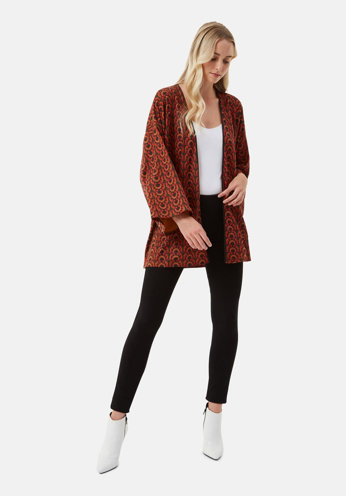 Traffic People Sonny and Cher Printed Shrug Jacket in Red Front View Image