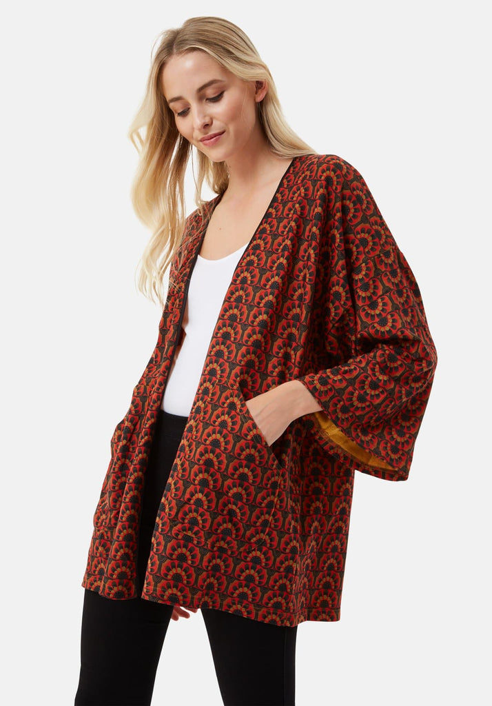 Traffic People Sonny and Cher Printed Shrug Jacket in Red Side View Image