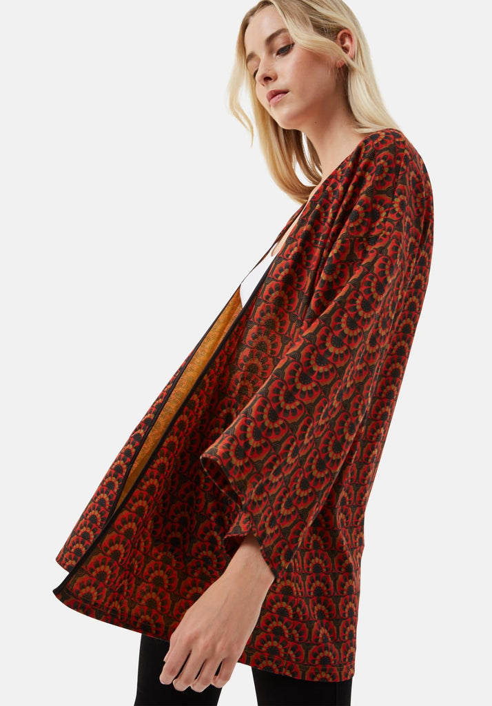 Traffic People Sonny and Cher Printed Shrug Jacket in Red Close Up Image