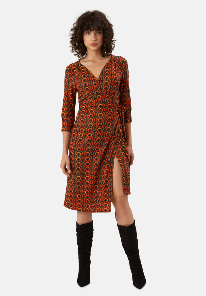 Traffic People It's a Wrap Printed Wrap Midi Dress in Orange and Green Front View Image