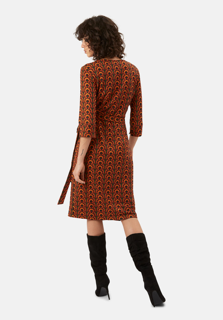 Traffic People It's a Wrap Printed Wrap Midi Dress in Orange and Green Back View Image