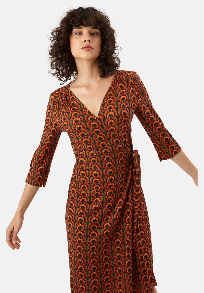 Traffic People It's a Wrap Printed Wrap Midi Dress in Orange and Green Side View Image