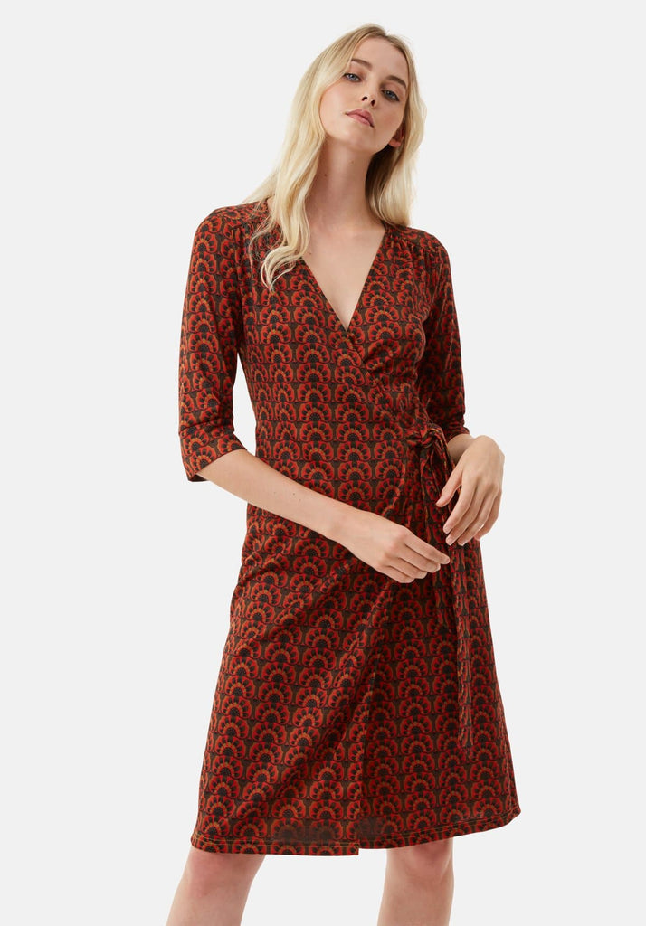 Traffic People It's a Wrap Midi Long Sleeve Dress in Red Back View Image