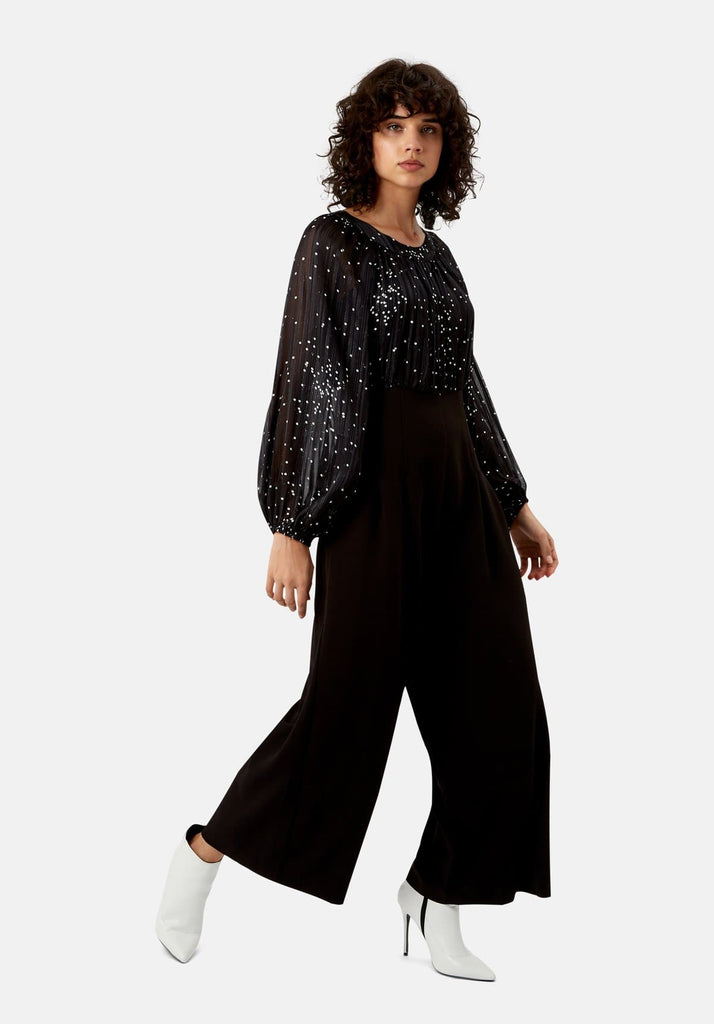 Traffic People Folklore Jumpsuit in Black Front View Image