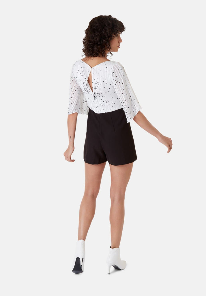 Traffic People Polka Dot Dory Playsuit in White Back View Image