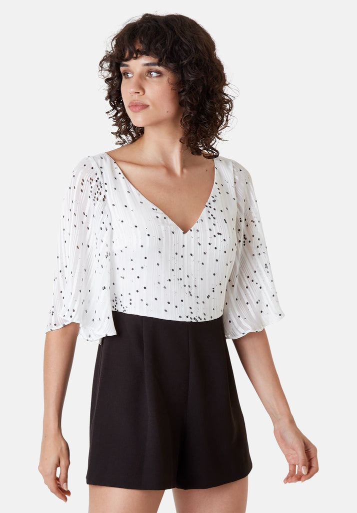 Traffic People Polka Dot Dory Playsuit in White Side View Image
