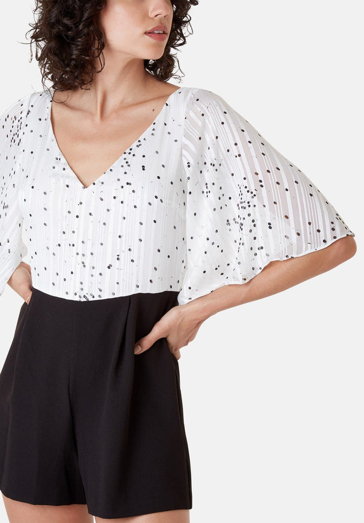 Traffic People Polka Dot Dory Playsuit in White Close Up Image