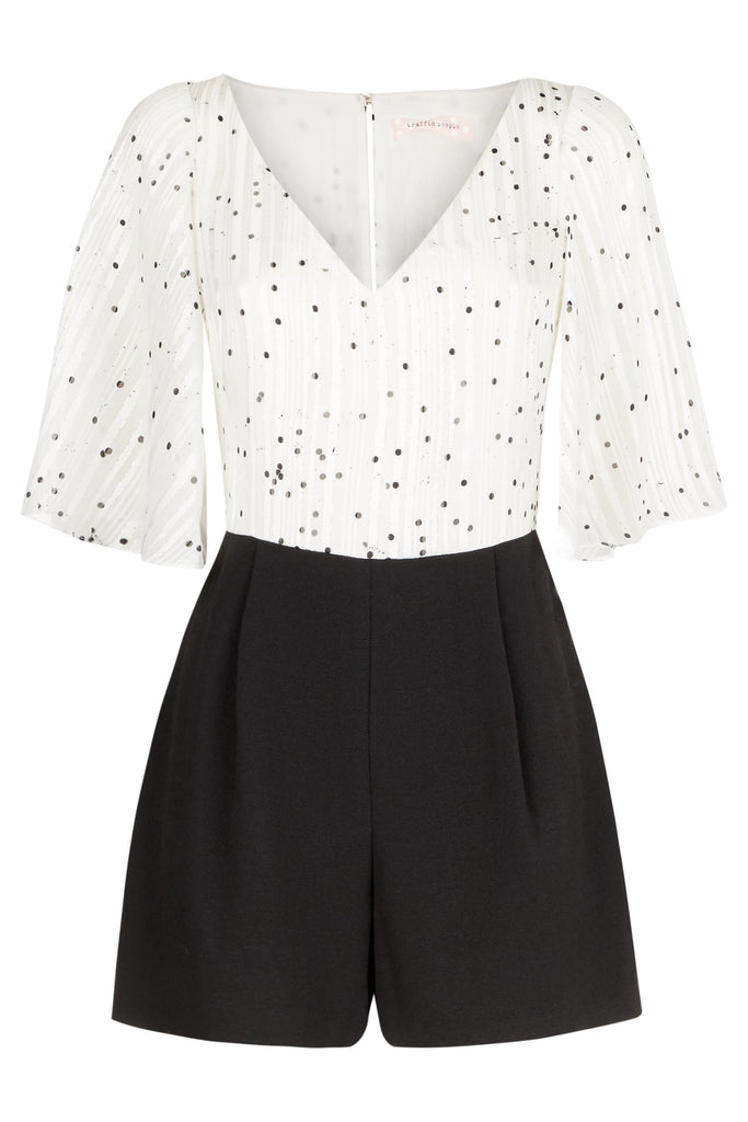 Traffic People Polka Dot Dory Playsuit in White FlatShot Image