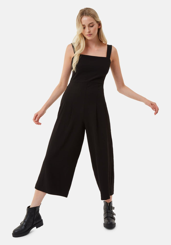 Traffic People Snow Drift Dungarees Jumpsuit in Black Front View Image