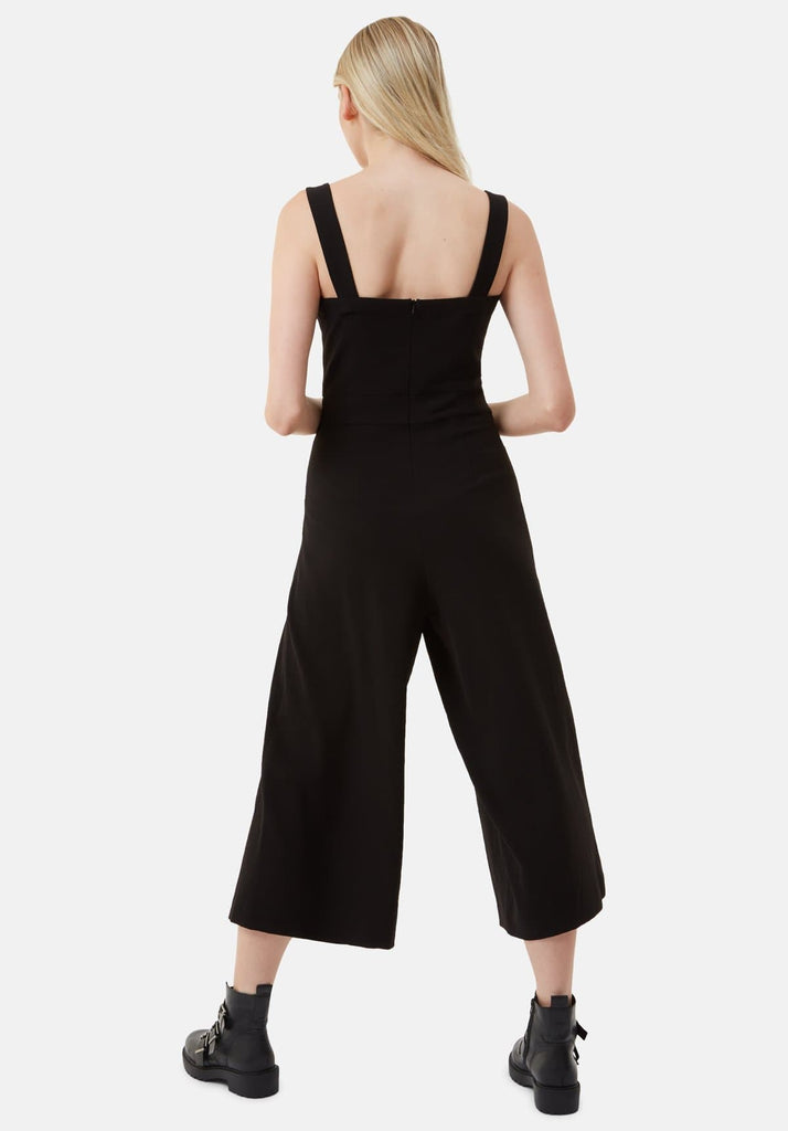 Traffic People Snow Drift Dungarees Jumpsuit in Black Side View Image