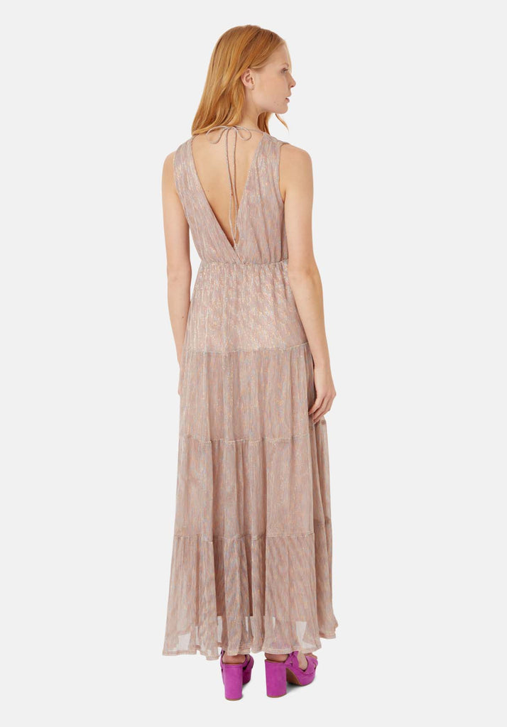 Traffic People Gaia Metallic Sleeveless Maxi Dress in Gold Back View Image