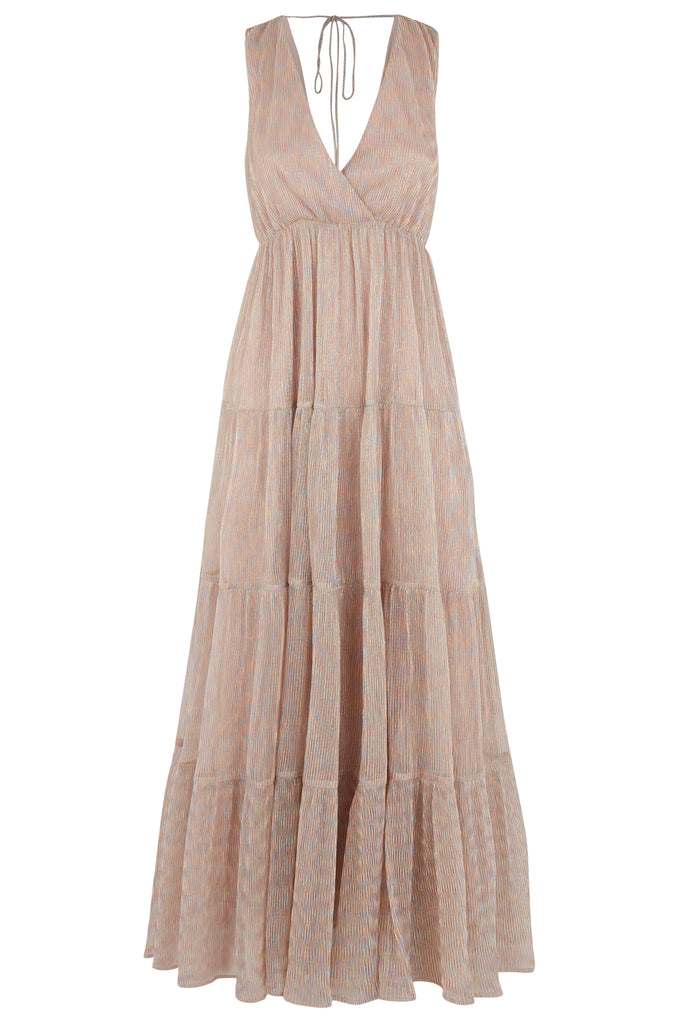 Traffic People Gaia Metallic Sleeveless Maxi Dress in Gold FlatShot Image