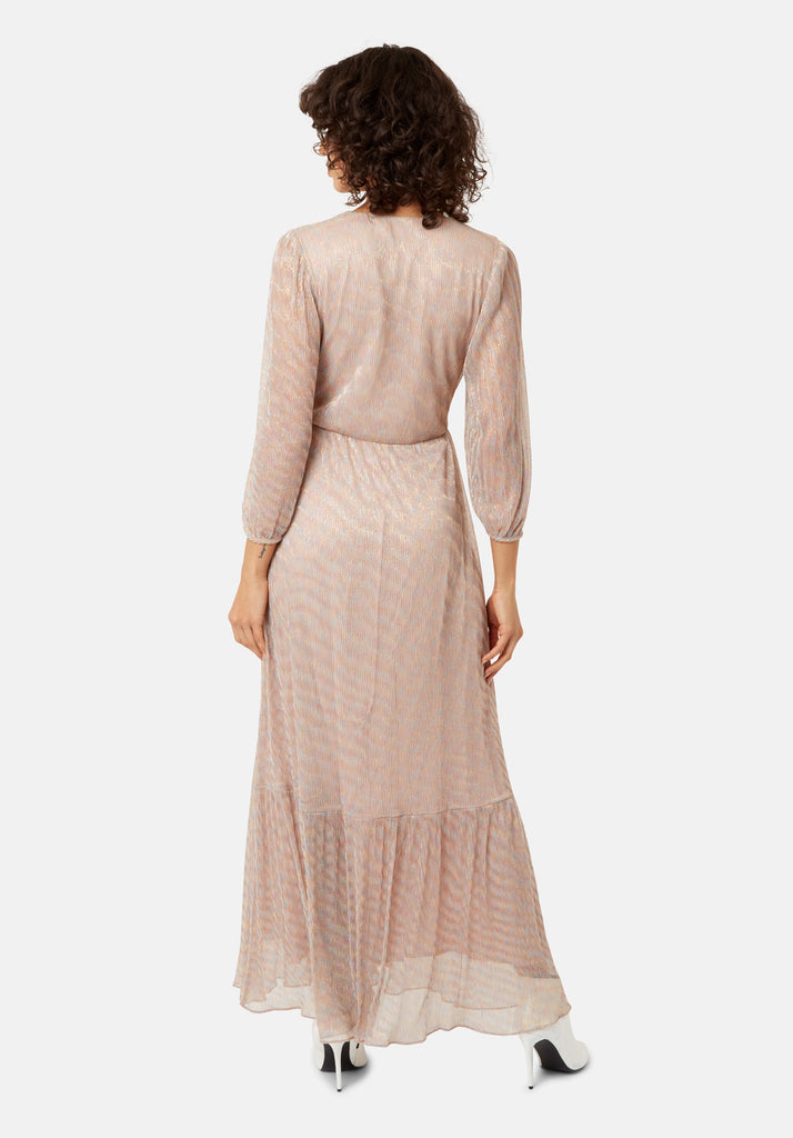Traffic People Silent Breathe Metallic Maxi Dress in Gold Back View Image
