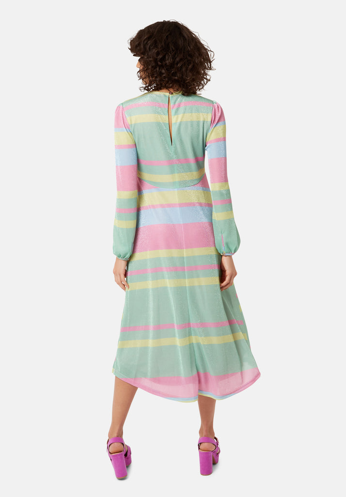 Traffic People Mama Mia Pastel Stripe Midi Dress in Multicoloured Side View Image