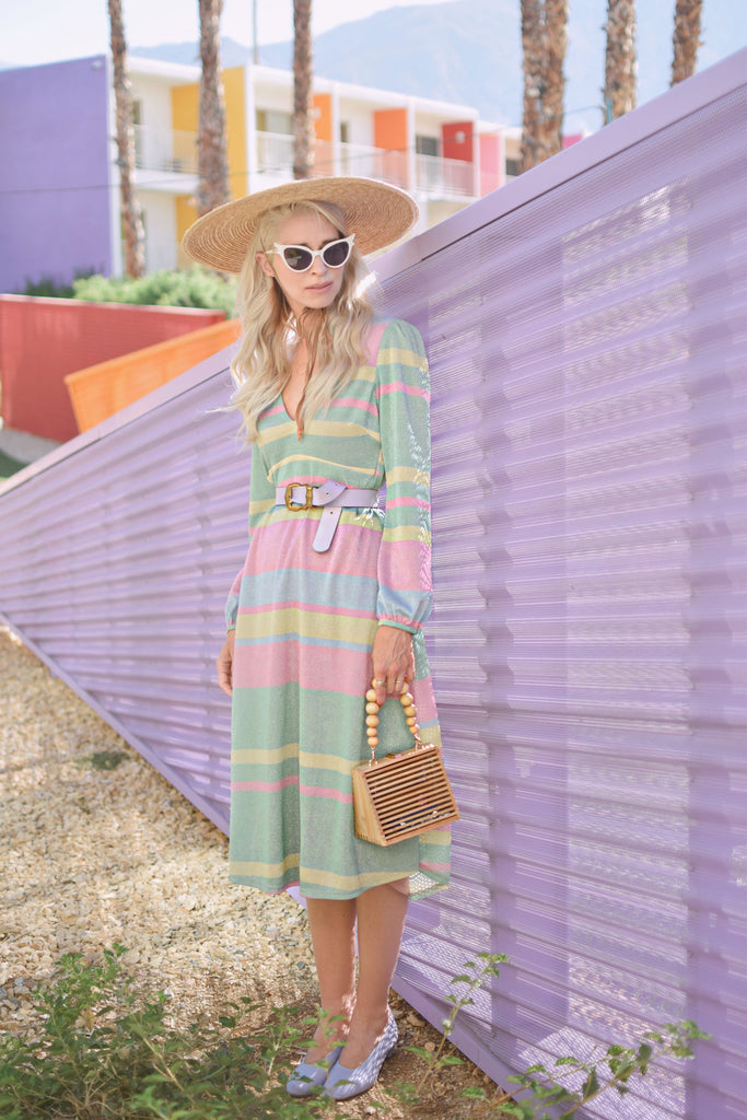 Traffic People Mama Mia Pastel Stripe Midi Dress in Multicoloured Front View Image