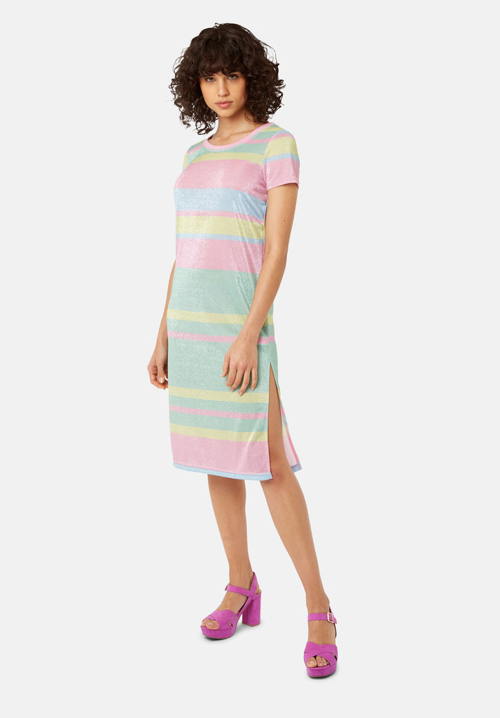 Traffic People T-shirt Short Sleeved Stripe Midi Dress in Multicoloured Front View Image
