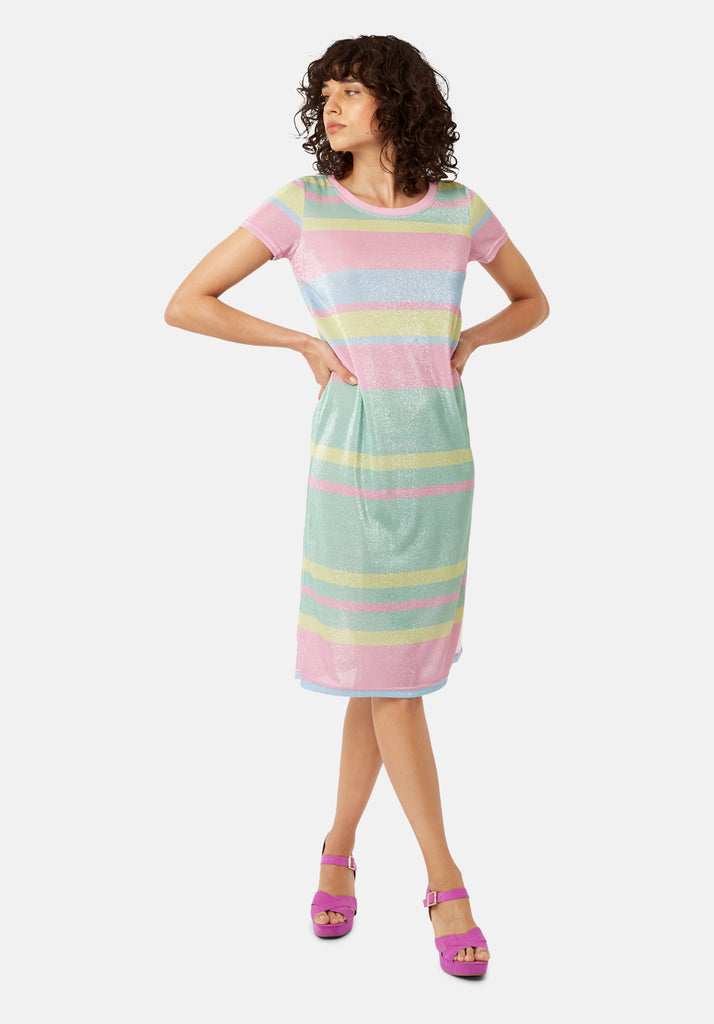 T-shirt Short Sleeved Stripe Midi Dress in Multicoloured
