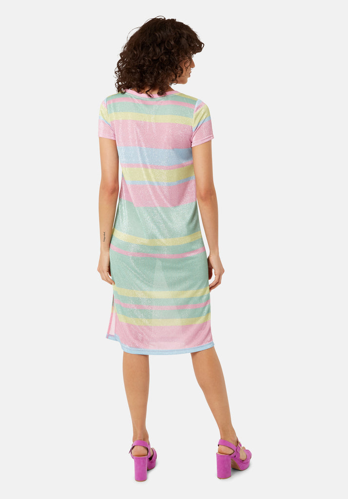Traffic People T-shirt Short Sleeved Stripe Midi Dress in Multicoloured Side View Image